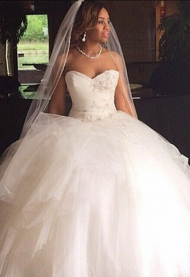 Ball Gown Sweetheart Neck Layers Wedding Dresses_2