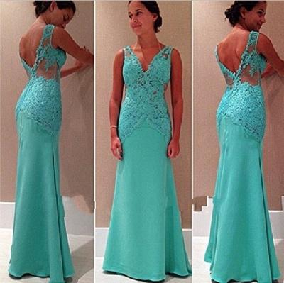 Sexy Lace Open-Back V-Neck Mermaid Sleeveless Party Dress_3