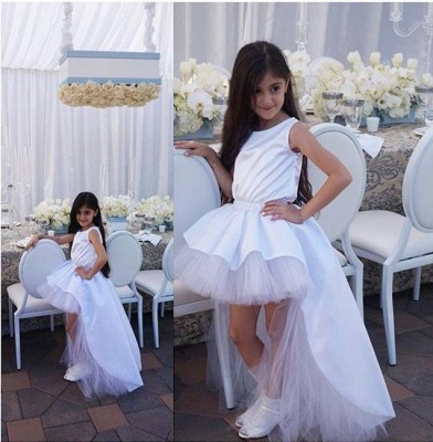 Lovely Sweep Train Jewel White Hi-Lo Tulle Flower Girl Dress_4