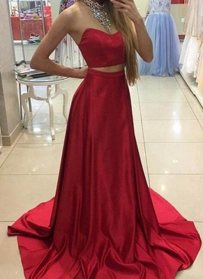 High Neck Crystals Two-Piece Sleeveless Red Long A-line Prom Dresses_2
