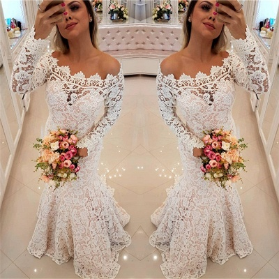 Off The Shoulder Sexy Mermaid Lace Wedding Dresses | Long Sleeves Cheap Bridal Dress_3