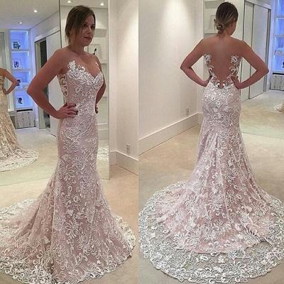 Elegant Sleeveless Court-Train Mermaid Lace Sheer-Tulle Prom Dress_3
