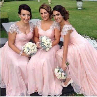 Long Pink Elegant Capped-Sleeves Chiffon Bridesmaid Dresses_3