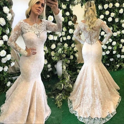 Elegant Mermaid Evening Dresses | Lace Long Sleeves Prom Dresses with Pearls_3