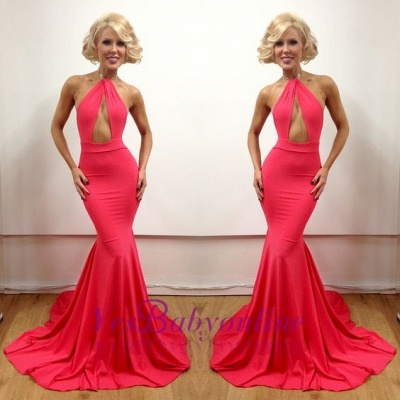 Mermaid Peach Open-Back Sexy Floor-Length Sleeveless Evening Gowns_1