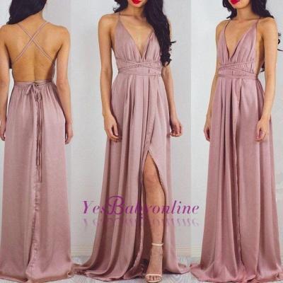 Floor-Length Halter Split Charming V-Neck Prom Dress_1