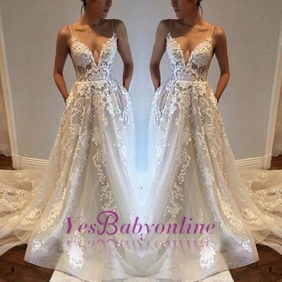 Glamorous A-line Spaghetti Straps Lace Appliques V-Neck Pockets Wedding Dresses_1