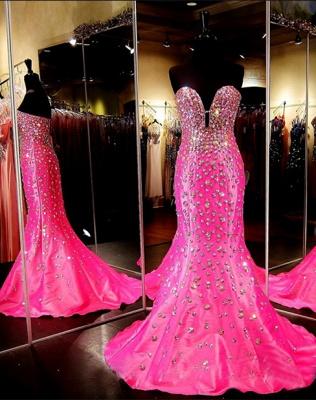 Sweetheart Sleeveless Open-Back Mermaid Crystal Luxury Prom Dress_2