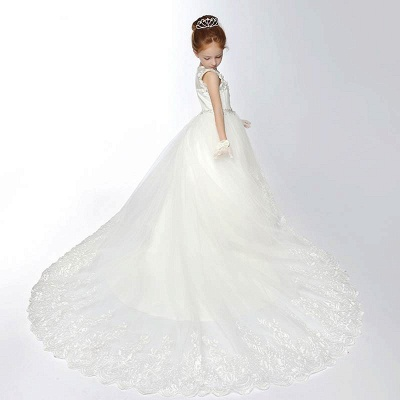 Tulle Scoop Appliques Ankle-Length Flower Girl Dress with Chapel Train_3
