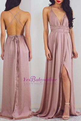 Floor-Length Halter Split Charming V-Neck Prom Dress_2