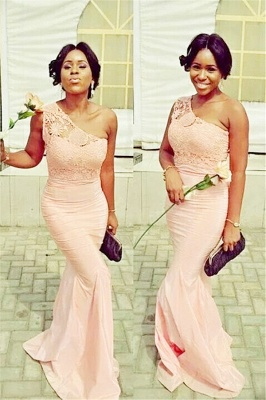 Simple Popular Lace Mermaid One-Shoulder Bridesmaid Dresses_2