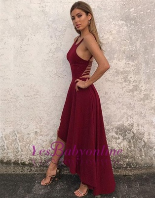 High-low Backless Stylish Sleeveless A-line  Evening Dress_4