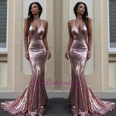 Sexy Sequins Mermaid Prom Dresses Deep V-Neck Long Evening Gowns_1