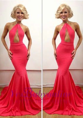 Mermaid Peach Open-Back Sexy Floor-Length Sleeveless Evening Gowns_2