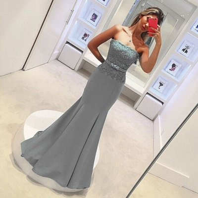 2019 Strapless Mermaid Prom Dresses Lace Bowknot Ruched Evening Gowns_4