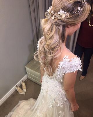 A-Line Tulle Glamorous Lace-Applique Wedding Dresses_4