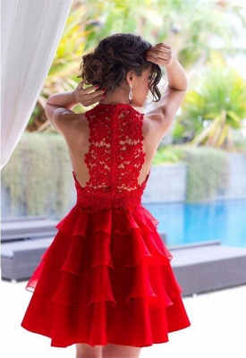 Sexy Red Lace Sleeveless Homecoming Dress Short Layers Cocktail Gowns_4