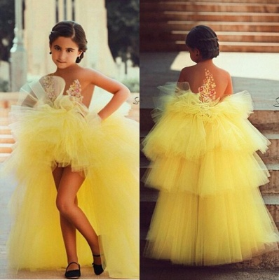 Tulle Tiered Appliques Short Flowers Lovely Flower-Girls Dress_3