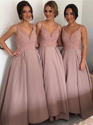 Beadings Elegant Sleeveless Floor-Length V-Neck Bridesmaid Dress_3