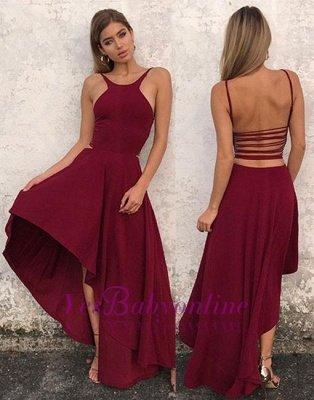 High-low Backless Stylish Sleeveless A-line  Evening Dress_5