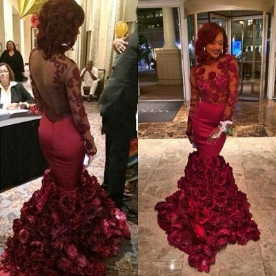 2019 Burgundy Mermaid Prom Dresses Long Sleeves Lace Appliques Rose Flowers Train Evening Gowns_3