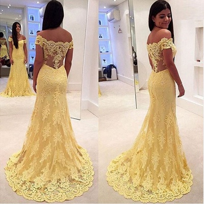 Mermaid Lace Yellow Off-the-Shoulder Prom Dresses_5