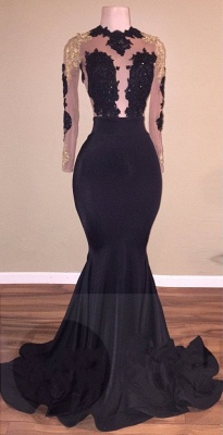 Long Lace-Appliques Prom Dresses | Black Long-Sleeve Mermaid Eevning Gowns_1