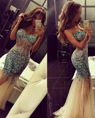 Luxury Mermaid Prom Dresses Sweetheart Neck Turquoise Crystals Sheer Tulle Long Evening Gowns_2