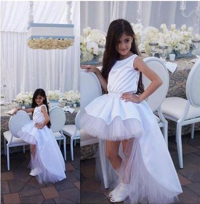 Lovely Sweep Train Jewel White Hi-Lo Tulle Flower Girl Dress_4
