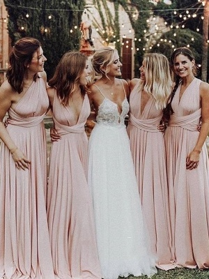 Elegant A-Line Chiffon Ruched V-Neck Long Bridesmaid Dress | Wedding Party Dress BM0232_1