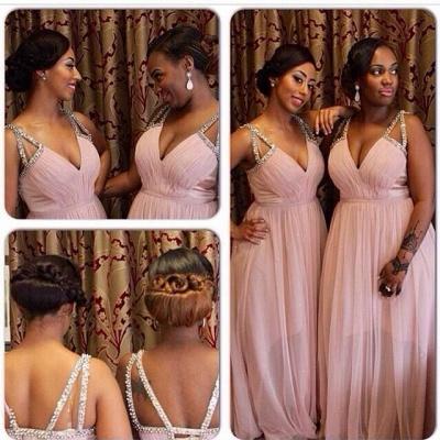 Pink Beading-Straps V-Neck A-line Chiffon Bridesmaid Dresses_3