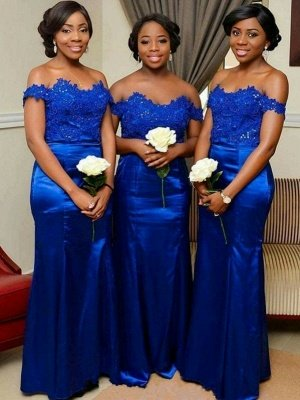 Elegant Off-the-Shoulder Wedding Party Dresses | Appliques Mermaid Bridesmaid Dresses_1