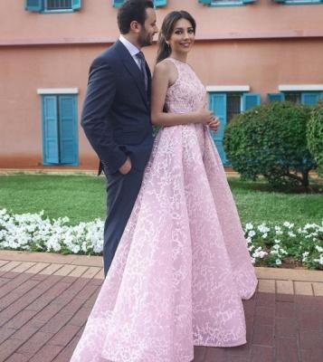 Chic Pink Halter Sweep Train Sleeveless Wedding Dress_3