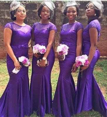 PurpleShort-Sleeves Beadings  Bow Sexy Mermaid Popular Bridesmaid Dresses_3