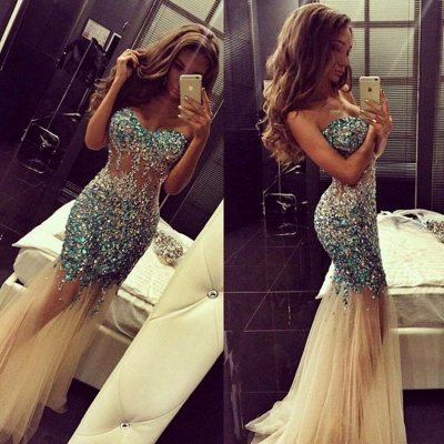Luxury Mermaid Prom Dresses Sweetheart Neck Turquoise Crystals Sheer Tulle Long Evening Gowns_1
