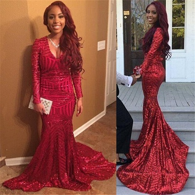 Mermaid Long-Sleeves Long Shiny V-Neck Red Prom Dresses_2