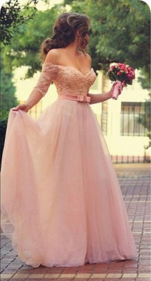 Elegant Pink Prom Dresses Off-the-Shoulder Beaded A-line Evening Gowns_3