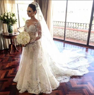 Royal Tulle Lace Glamorous Beadings Long  Sleeves Wedding Dress_3