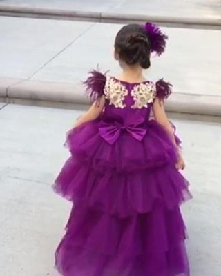 Jewel Tulle High Low Lavender Princess Flower Girl Dresses_2