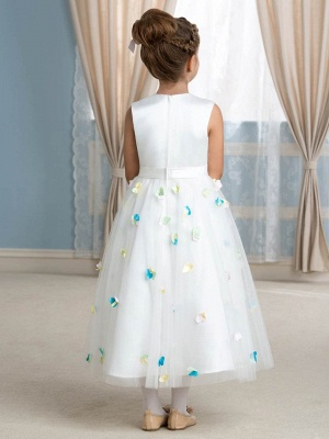 Cute A-Line Tulle Scoop Tea-Length Floral Flower Girl Dress_3