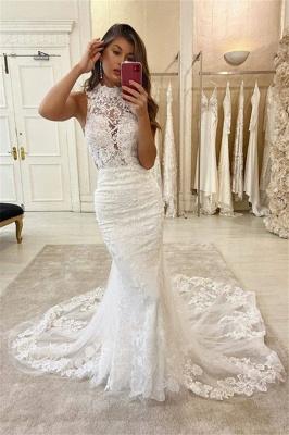 Elegant High Neck Lace Fiteed Mermaid Floor Length Wedding Dresses_2