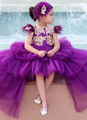 Jewel Tulle High Low Lavender Princess Flower Girl Dresses_1