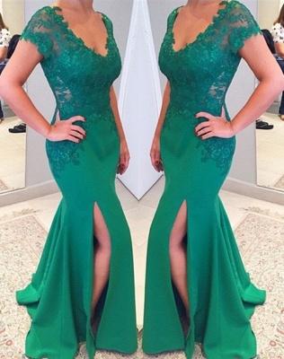 Short Lace Sleeves V-neckline Applique Mermaid Green Prom Dress_2