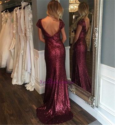 Short-Sleeve Stunning Sweep-Train Zipper Sequins Evening Dress_1