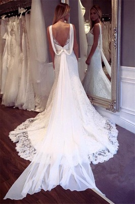 Glamorous Lace Sexy Mermaid Wedding Dresses | Sleeveless  Open Back Crystall Bridal Gowns_3