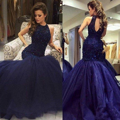 2019 Halter Neck Beading Keyhole Back Navy Blue Long Mermaid Prom Dresses_3