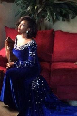 V-Neck Crystal Sexy Mermaid Royal-Blue Long-Sleeves Velevt Prom Dress_4