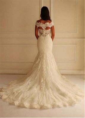 Glamorous Lace-Applique Off-The-Shoulder Mermaid Wedding Dresses_3