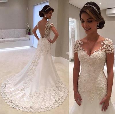 Cap Sleeves Lace Beading Open Back Mermaid Wedding Dresses_4