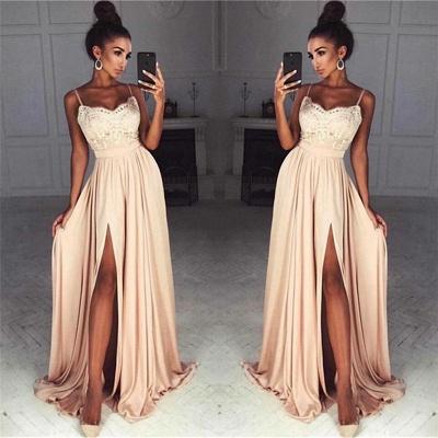 Gorgeous Split Chiffon Prom Dresses | Sexy Spaghetti Straps Evening Gowns_3